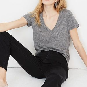 Madewell whisper cotton v-neck pocket tee shirt